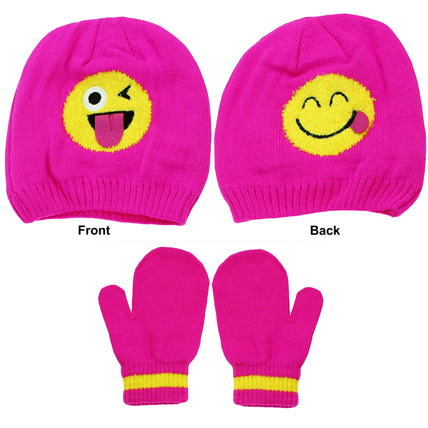 emoji Girls Wink and Smiley Face Beanie Winter Hat and Mitten or Glove Set Hot Pink