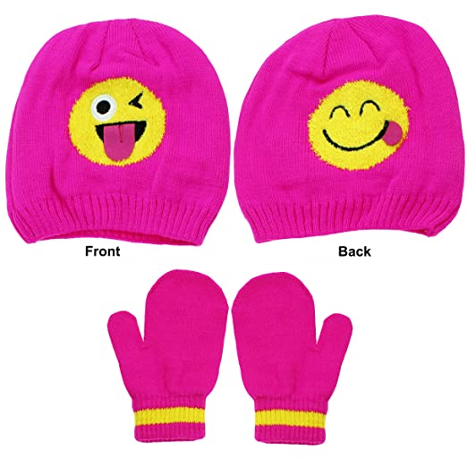 32c3711764ff8 Emoji Toddler Girls Wink and Smiley Face Beanie Winter Hat and Mittens Pink  2T-4T