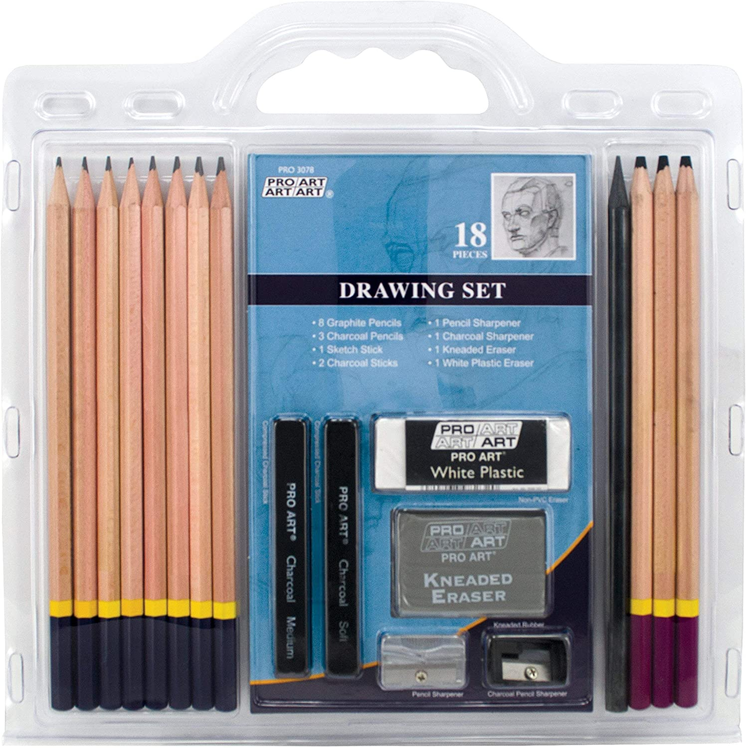 "PRO ART Pencil Set Sketch & Draw, 9.38"" x 9.38"" x 0.25"", Graphite & Charcoal"