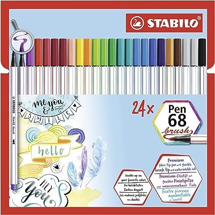 STABILO Pen 68 brush Rotulador punta de pincel - Estuche con 24 colores: Amazon.es: Oficina y papelería