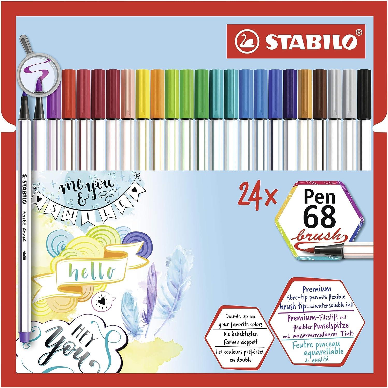 Astuccio Desk-Set da 20 Pennarello Premium con punta a pennello per linee spesse e sottili STABILO Pen 68 brush Colorparade con 19 colori assortiti