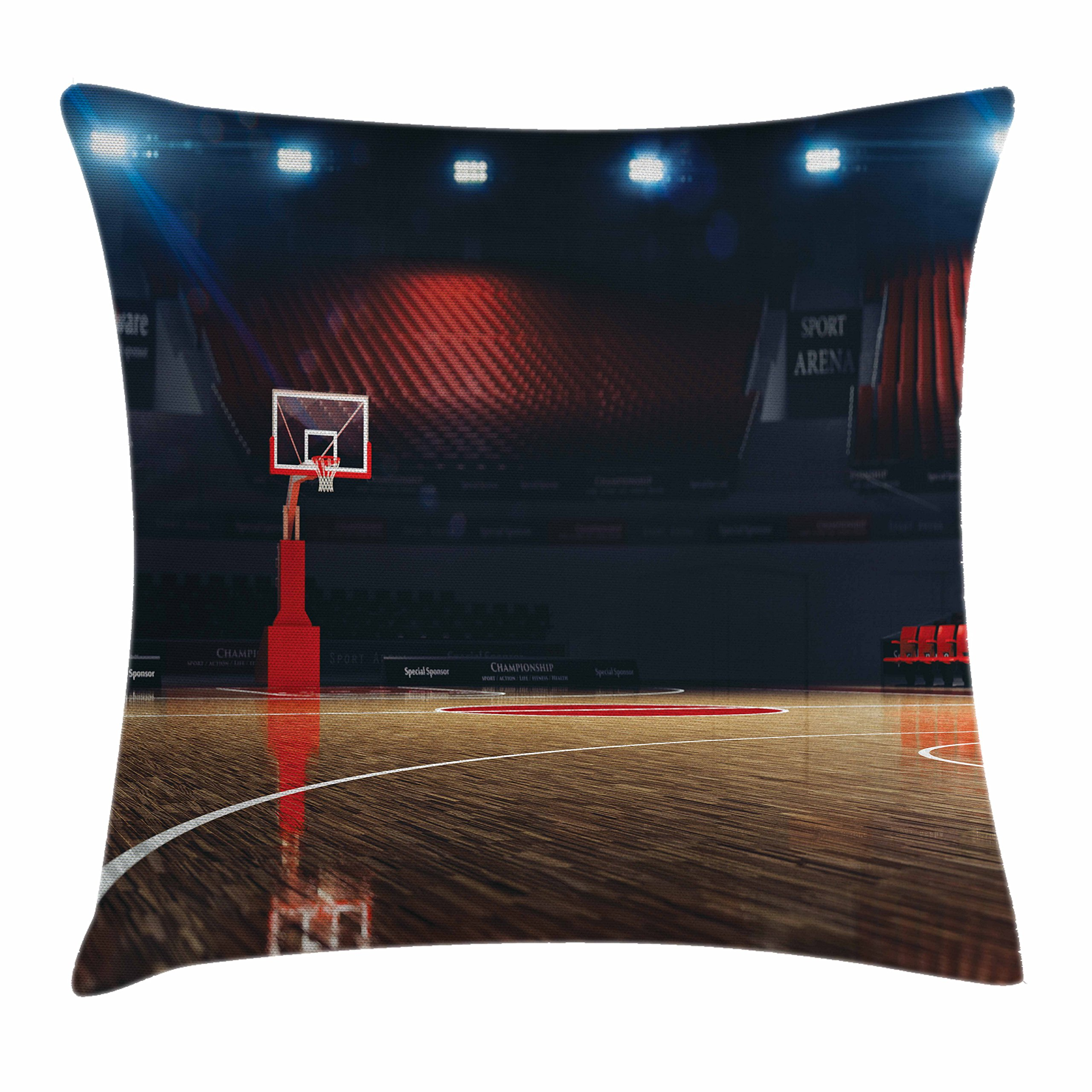 Ambesonne Sports Decor Throw Pillow Cushion Cover, Picture of Empty Basketball Court Sport Arena with Lights and Wood Floor, Decorative Square Accent Pillow Case, 16 X 16 inches, Brown Black Red