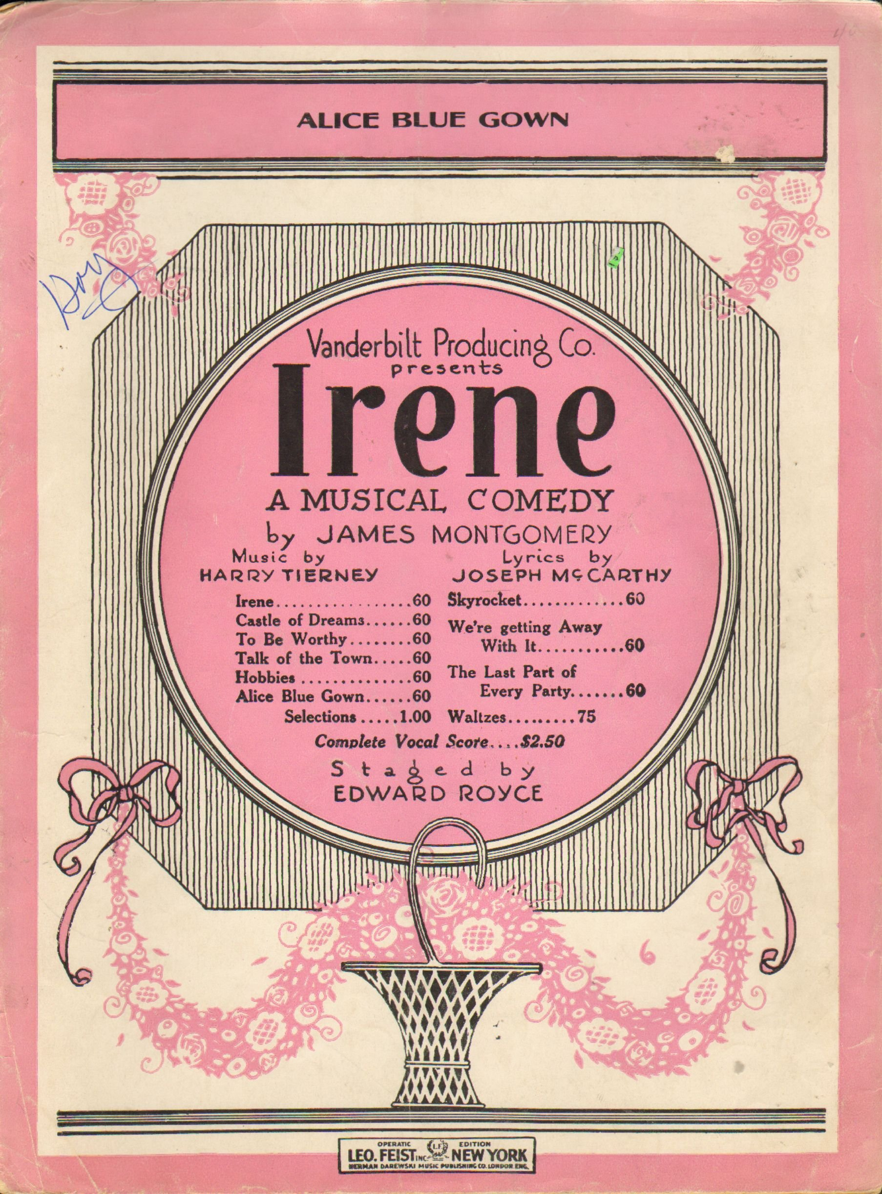Alice Blue Gown From Irene a Musical Comedy (Sheet Music): Music by ...