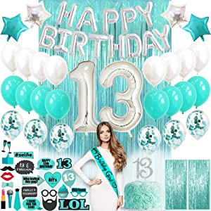 13th Birthday Decorations for Girls with Photo Props | Teen Girl Teen Decor | Teal Turquoise Blue Birthday Gifts for Teen Girls | 13 birthday decorations for girls | 13th birthday gifts for girls