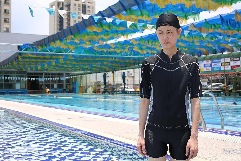 Heroine Zipper Short-Sleeve Swim Chest Binder//Swimming Trunks and Cap Included