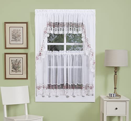 The_Curtain_Shop Vintage Embroidered Organza with Macrame Trim 58Wx38L Swag Pair- White Rose
