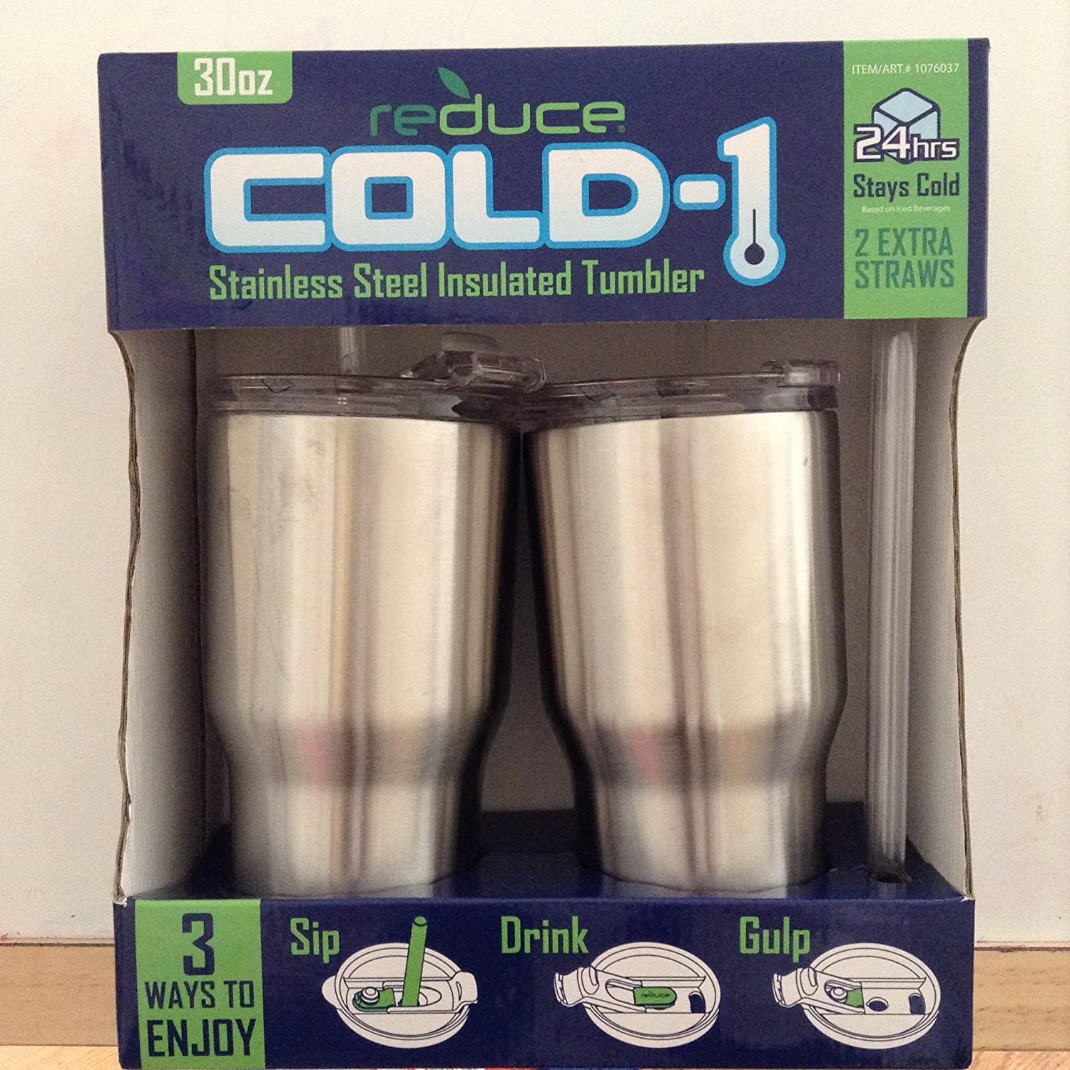 Reduce Cold-1 Stainless Steel Insulated Tumbler - 2 Pack, 30 Oz - Stays cold for 24 hrs!!!