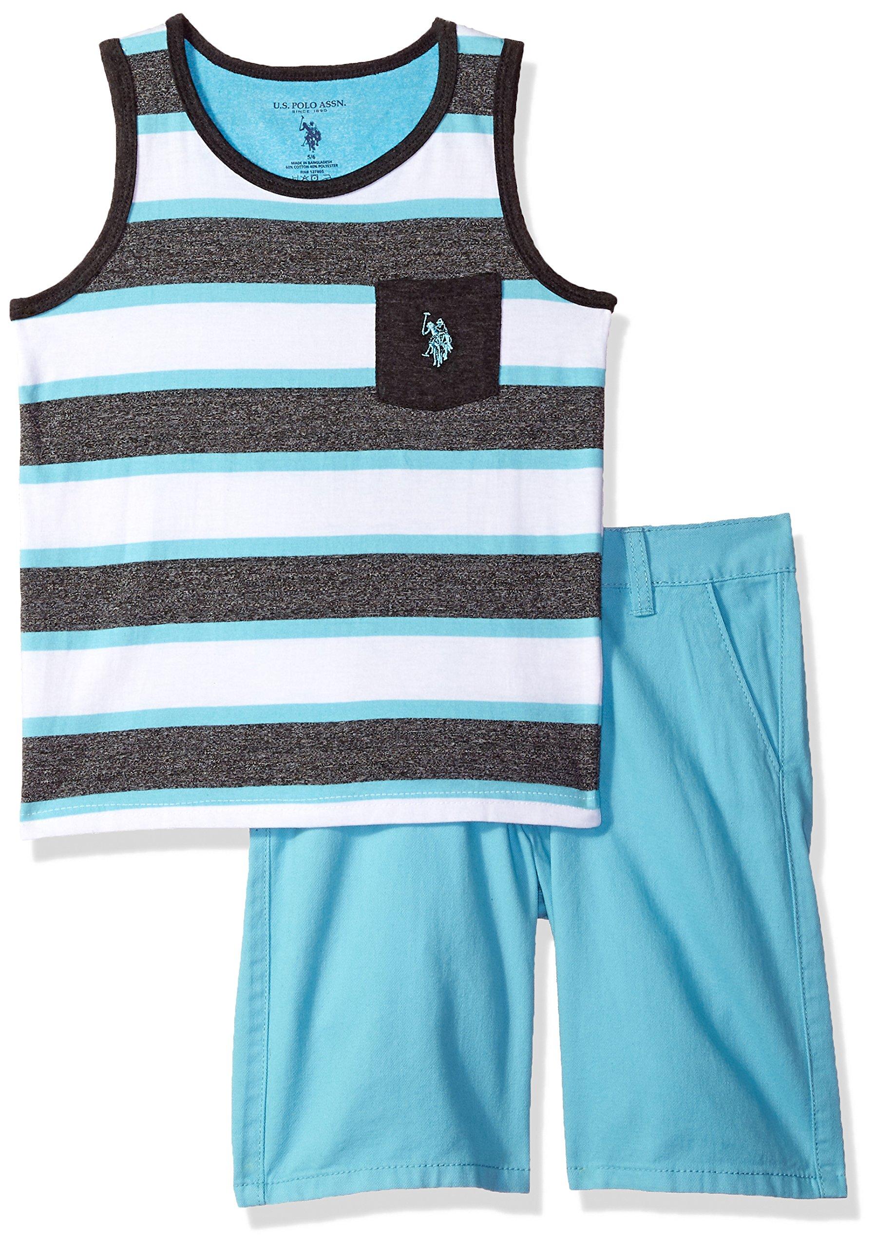 U.S. Polo Assn. Toddler Boys' Tank Short Set, Striped Tank Solid Short Aqua, 4T