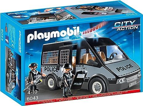 PLAYMOBIL - Furgón de policía con Luces y Sonido (60430): Amazon.es: Juguetes y juegos