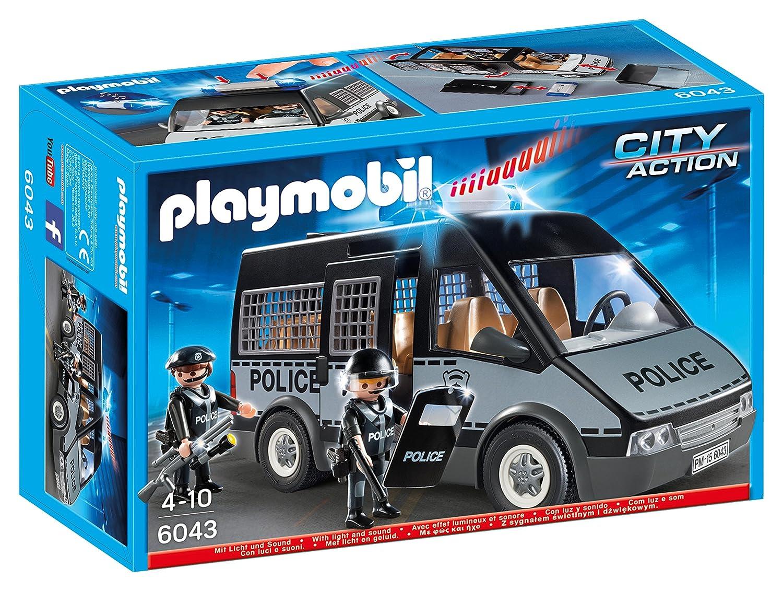 playmobil 6043 voiture de patrouille de la police avec son et lumire amazonfr jeux et jouets - Policier Playmobil