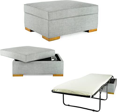 iBED Convertible Ottoman Guest Bed in Gray Fabric DISCONTINUED