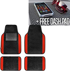 TLH Carpet Floor Mats with Colored Trim, Red Color w/Black Dash Pad