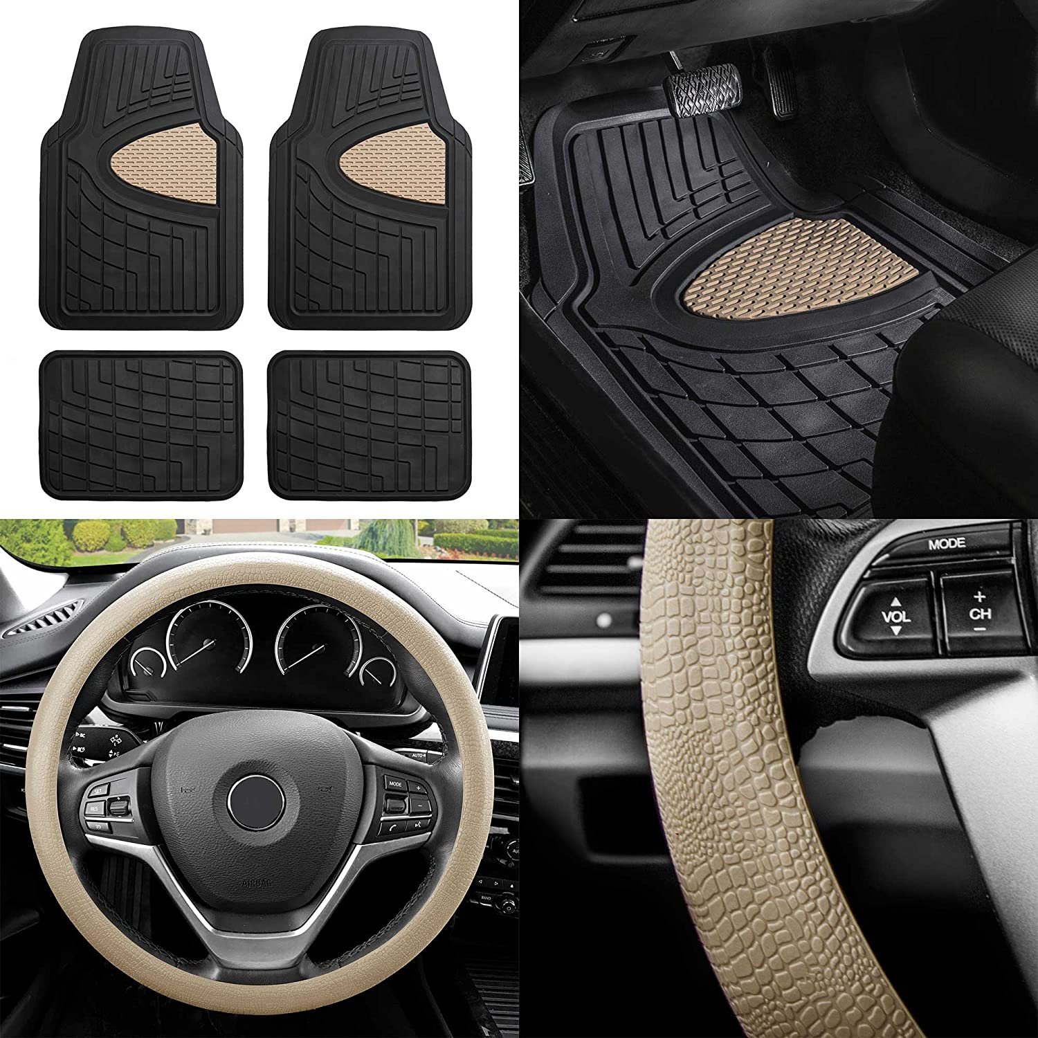 FH Group F11311 Premium Tall Channel Rubber Trimmable Floor Mats w. FH3001 Snake Pattern Silicone Steering Wheel Cover, Beige/Black- Universal Fit for Trucks, SUVs, and Vans