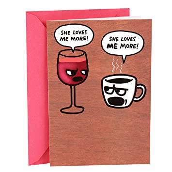 Amazon Hallmark Shoebox Funny Birthday Greeting Card For Her Wine And Coffee Office Products
