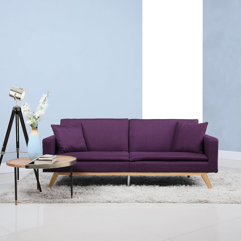 Amazon: Modern Tufted Linen Splitback Recliner Sleeper Futon Sofa ( Purple): Kitchen & Dining