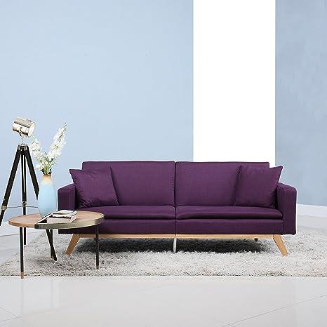 Divano Roma Furniture Moderno sofá de Lino con diseño de ...