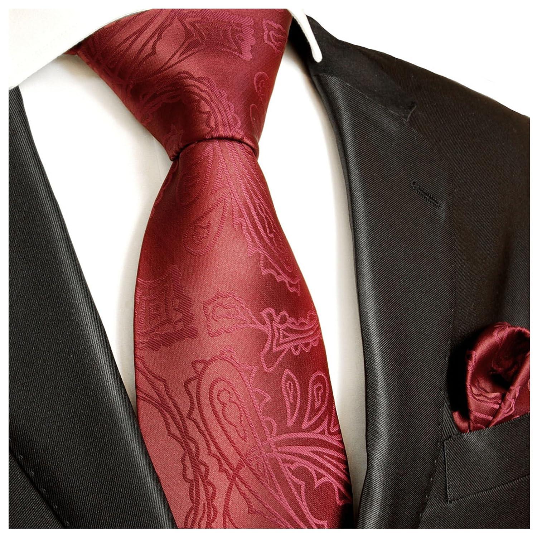 Krawatten Set 2tlg Krawatte + Einstecktuch von Paul Malone weinrot Hochzeitskrawatte Bräutigam Tie v1