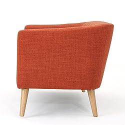 Christopher Knight Home 301294 Bridie Fabric Mid Century Modern Loveseat, Muted Orange