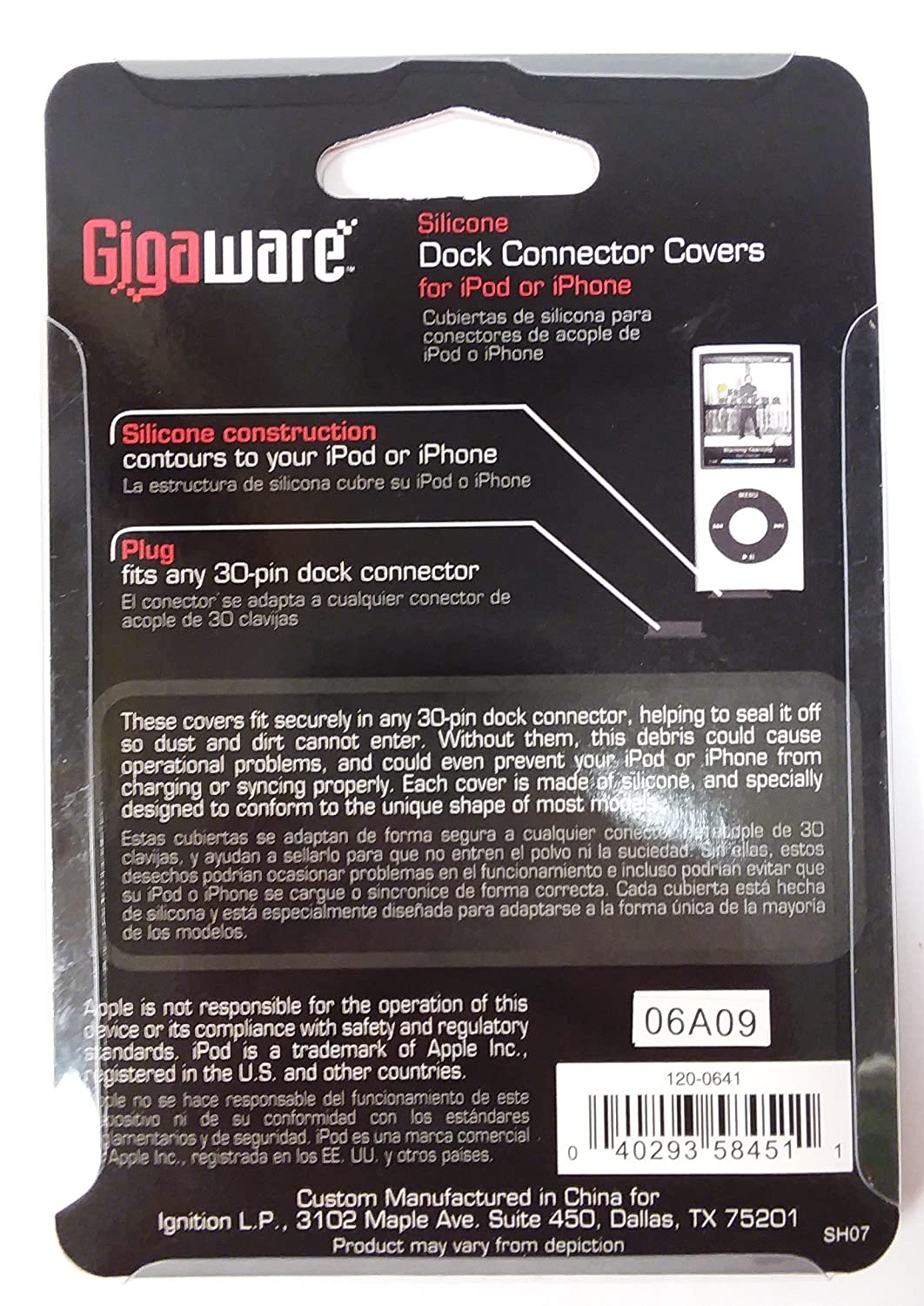Amazon.com: Gigaware Silicone Dock Connector Covers For Ipod Or Iphone: MP3 Players & Accessories