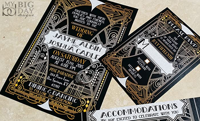 Amazoncom The Glittering Gatsby Wedding Invitation Sample Set