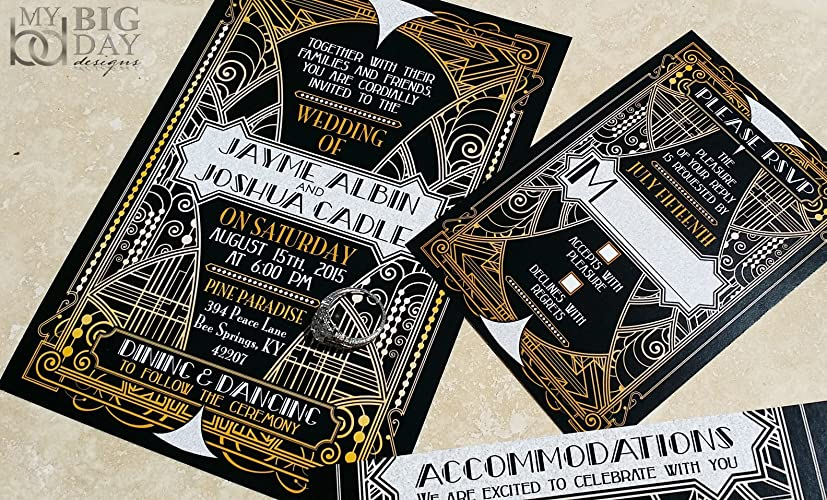 amazoncom the glittering gatsby wedding invitation sample set handmade - Great Gatsby Wedding Invitations