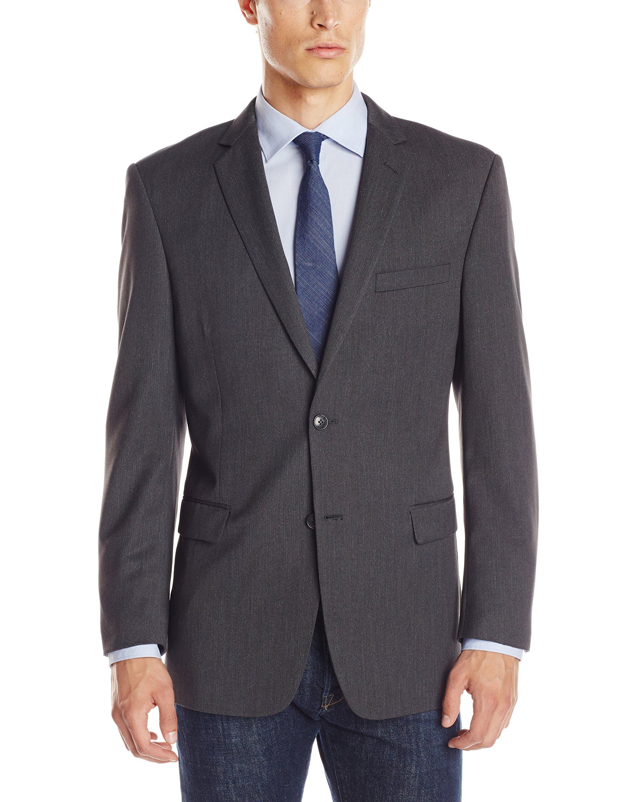 U.S. Polo Assn. Men's 2 Button Side Vent Suit Separate Jacket, Black Stripe, 48/Long