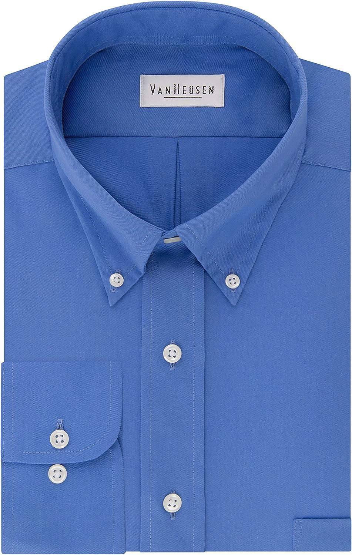 Van Heusen Mens Dress Shirts Regular Fit Twill Solid Button Down Collar