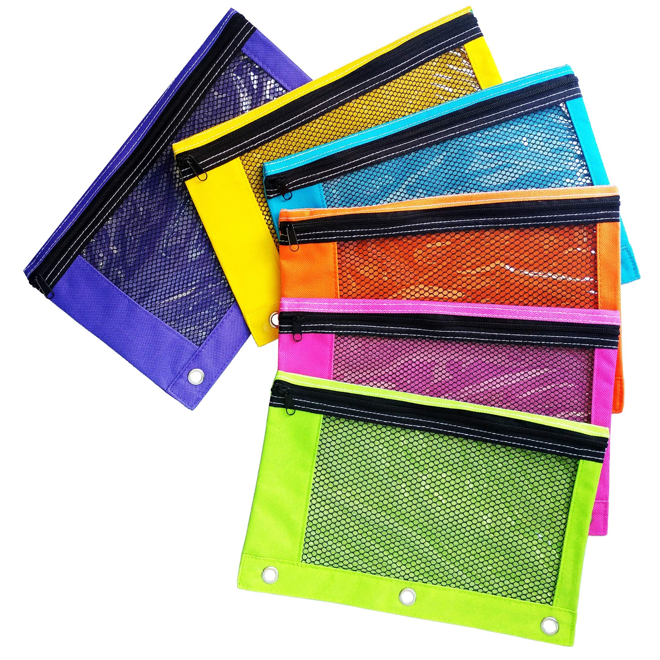 Zippered Pencil Pouches by School Smarts - 3 Ring Pencil Case with Mesh and plastic window. Huge 30 Pack with a Variation of 6 Bright Colors. by School Smarts
