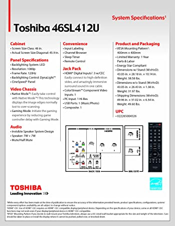 Amazon Com Toshiba 46sl412u 46 Inch 1080p 120 Hz Led Lcd Hdtv