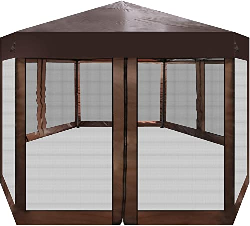 Vilobos Outdoor Gazebo Patio Hexagonal Canopy Tent Sun Shade with Mosquito Netting and Carry Bag for Backyard Party Brown