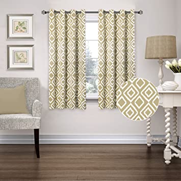 FlamingoP Room Darkening Ikat Fret Latte/Cappuccino Blackout Top Grommet  Unlined Thermal Insulated Window Curtains