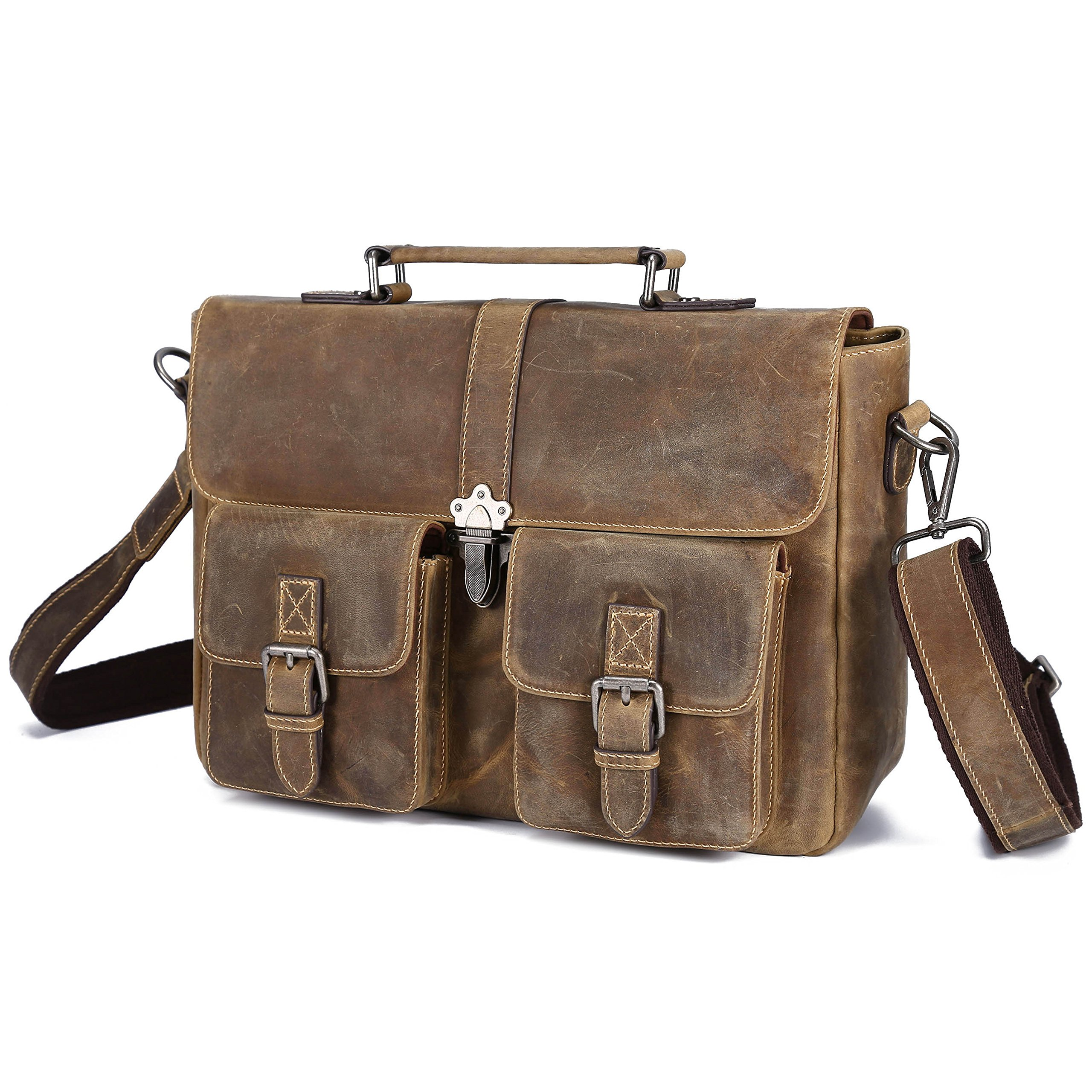 BAIGIO Vintage Leather Briefcase Antique Messenger Bag 13'' Laptop Shoulder Handbag (Brown) by BAIGIO
