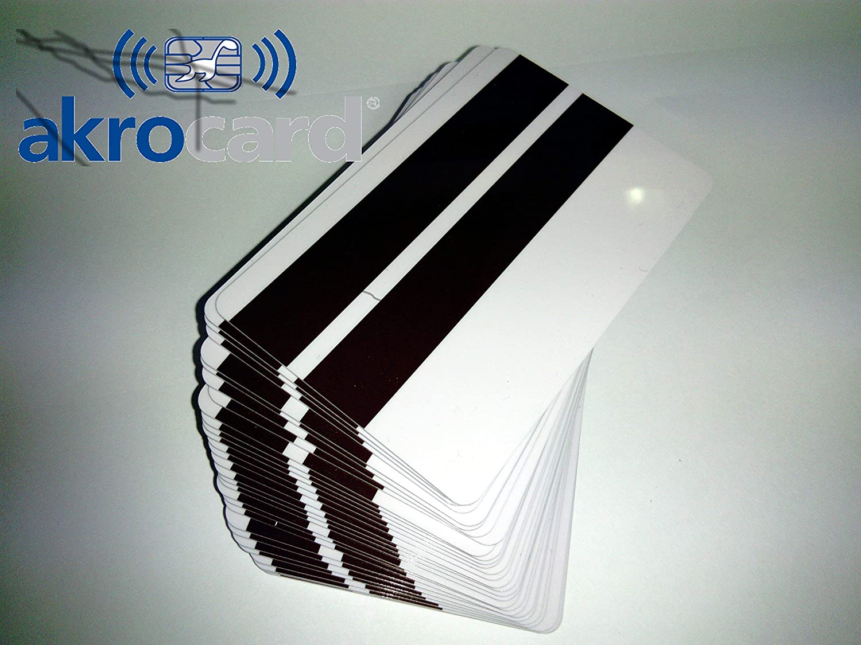 Pack 100 - Tarjeta pvc BLANCA con banda magnetica HI-CO ...