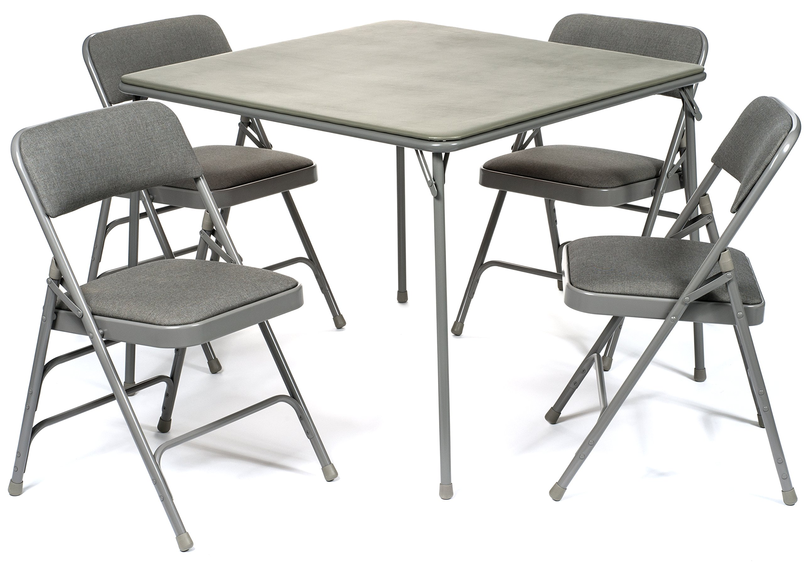 5pc. XL Series Folding Card Table and Triple Braced Fabric Padded Chair Set, Commercial Quality, Grey