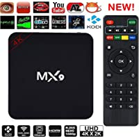 A Z Link MX9 High Efficiency VIdeo Coding 4K Ultra HD Android Smart TV Box Compatible With All Android Or Iphone Devices-Black