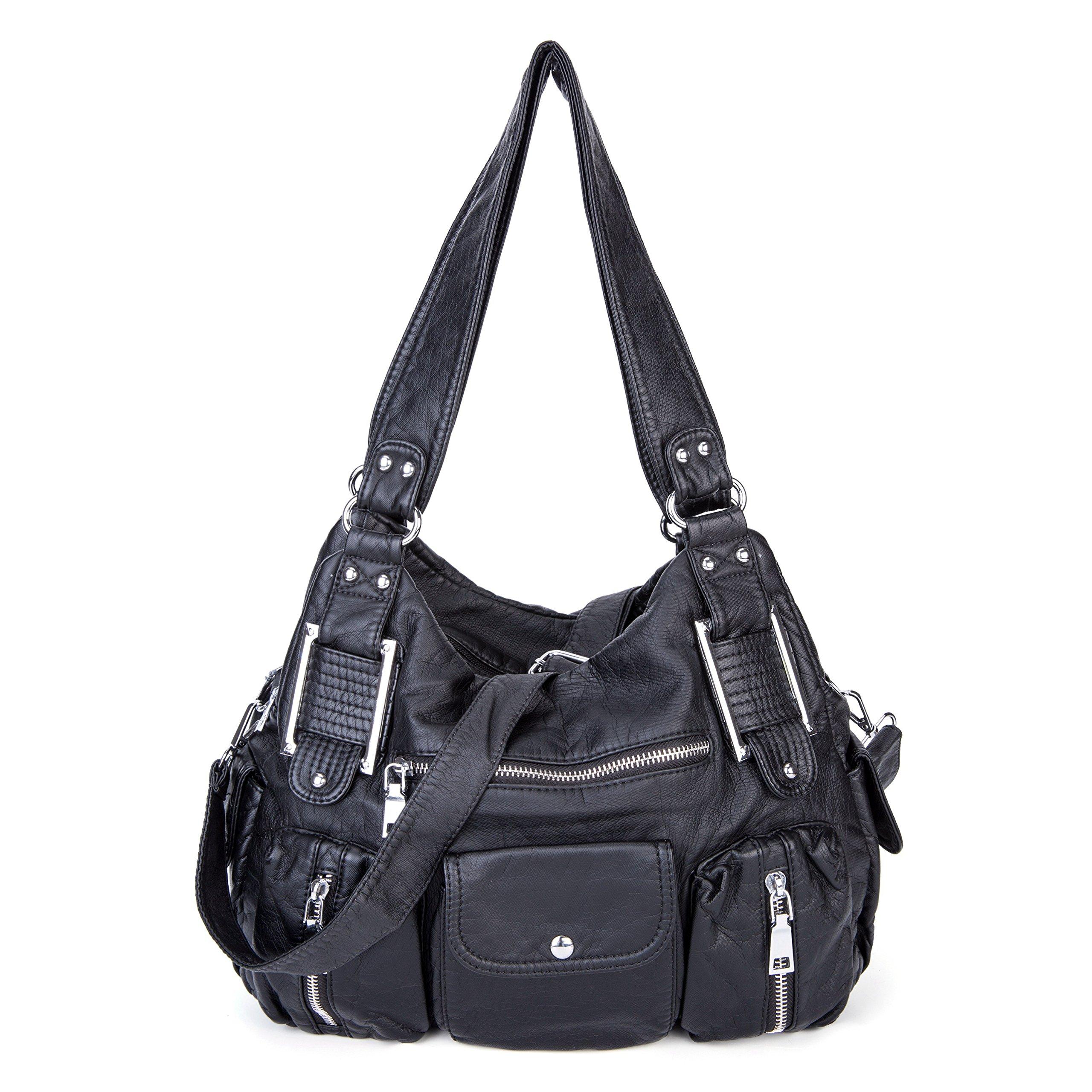Shoulder Bag Purse Soft Large Capacity Tote Bag Washed PU Leather Cross Body Handbag for Women (Black)