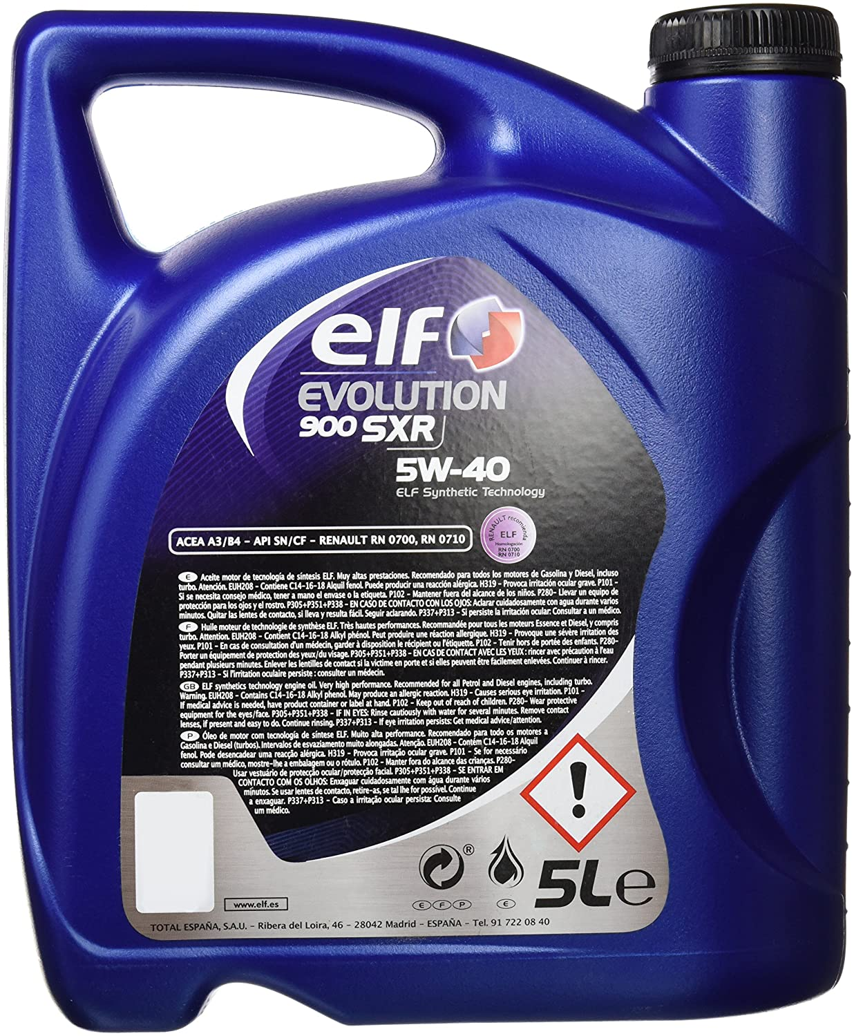 Elf ELEV5405 Evolution 900 SXR 5W40 5L, 5 litros: Amazon.es: Coche y moto