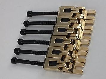 Floyd Rose - Set de 6 silletas para puente de guitarra y tornillos, dorado