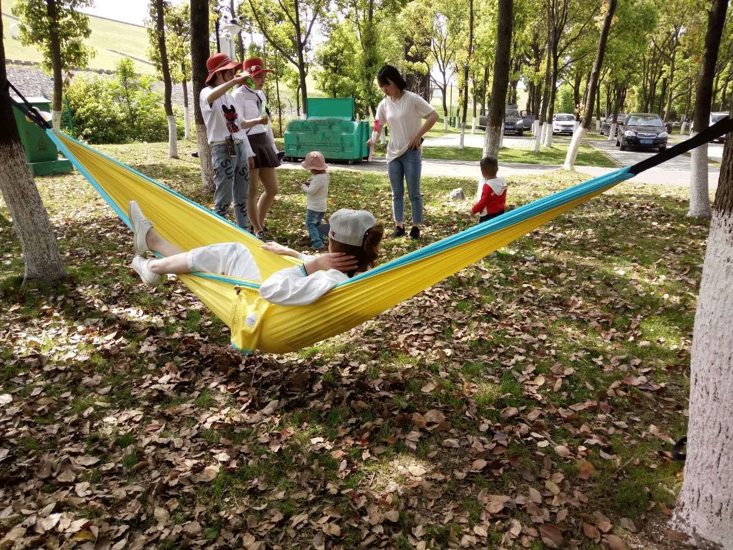 Cutequeen Trading Parachute Nylon Fabric Hammock with Tree Straps;Color: Grey/Sky Blue by Cutequeen (Image #10)