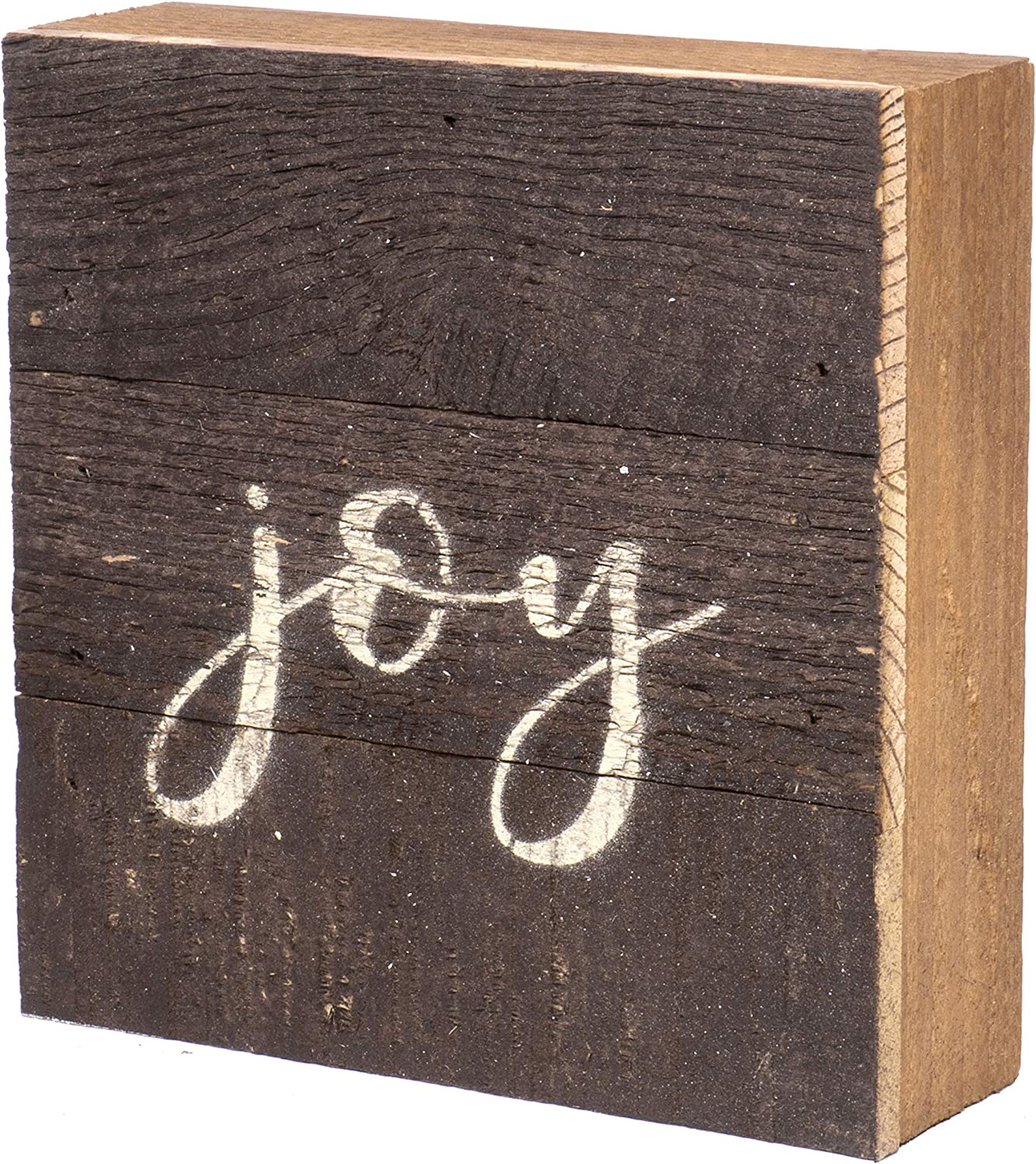 Second Nature By Hand 6x6 inch Reclaimed Wood Art, Handcrafted Decorative Wall Plaque — Joy