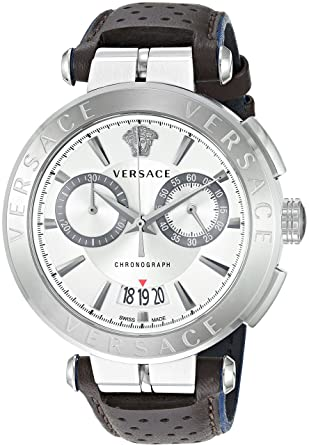 0ad28968b Image Unavailable. Image not available for. Color: Versace Men's Aion  Chrono Stainless Steel Quartz Leather ...