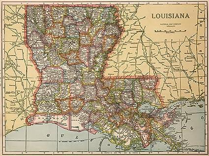 I 20 Louisiana Map.Amazon Com Map Poster Louisiana 16 X 20 Posters Prints