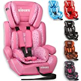 KIDUKU® Seggiolino auto, cresce con il bambino, sedile, universale (fissaggio con la cintura dei adulti), approvato con la normativa ECE R44 / 04, in 6 colori differenti, 9 - 36 kg (1-12 anni), gruppo 1+2+3 (Rosa)