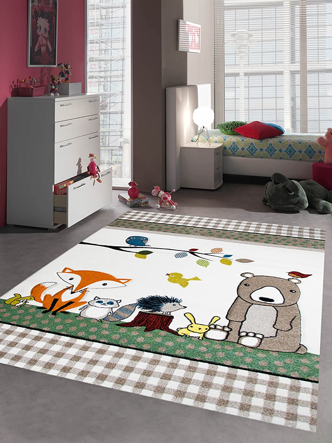 Kids rug children's play carpet baby room carpet animals bear fox hedgehog rabbit owl braun cream green size 80x150 cm Carpetia