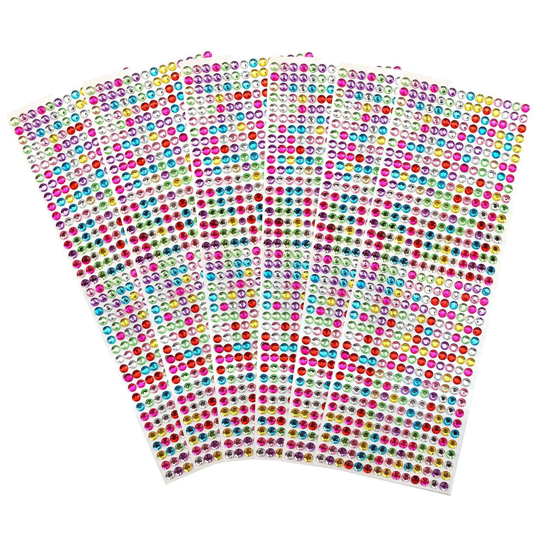 3024 PCS, 6 Sheets Multicolor Self-Adhesive Rhinestone Sticker Sheet Crystal Diamond Bling Craft Jewels Gem, 6 mm by ZXSWEET