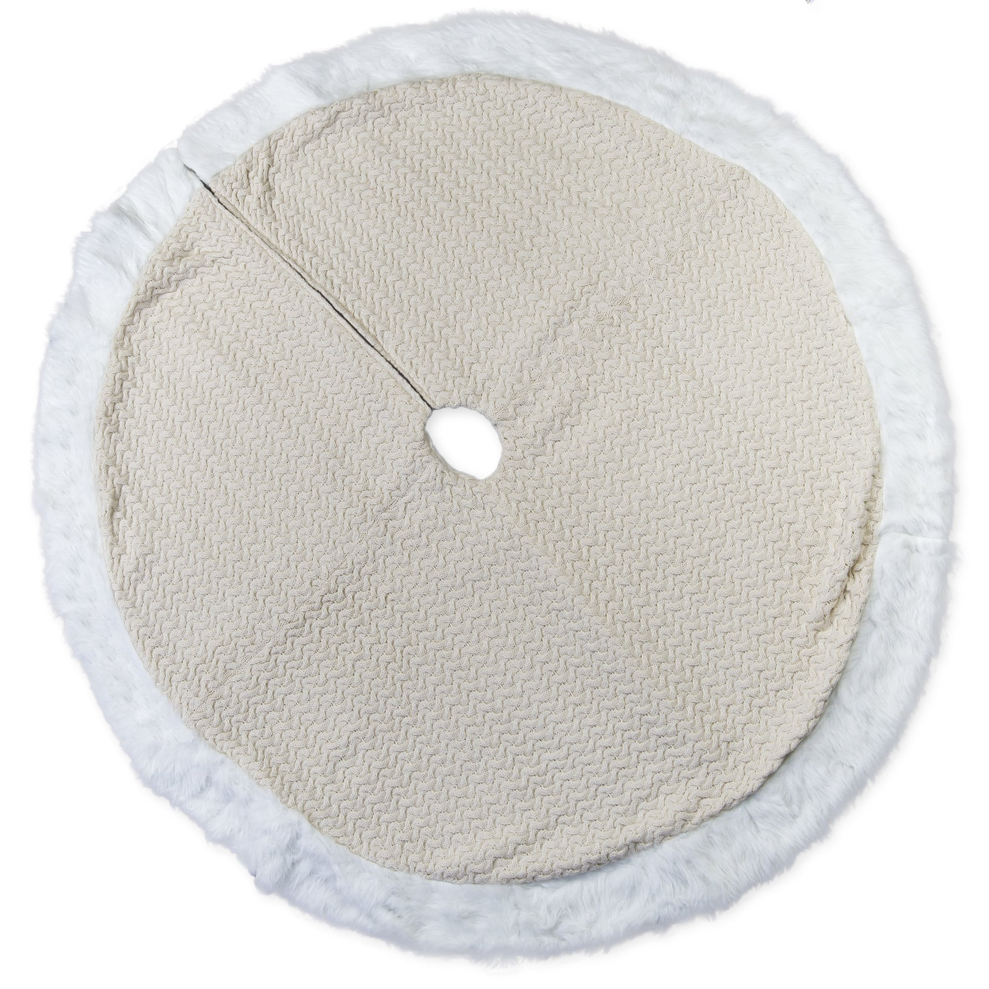 56 inch Off White Cable Knit Plush Fabric Christmas Tree Skirt with Fur Trim by Seasons Designs
