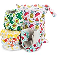 Simple Being Reusable Cloth Diapers- Double Gusset-6 Pack Pocket Adjustable Size-Waterproof Cover-6 Inserts-Wet Bag…