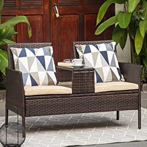 M&W Outdoor Patio Furniture, Wicker Loveseat with Glass Table for Balcony, PE Rattan Bistro Set for Lawn, Garden, Backyard (Throw Pillow NOT Included)