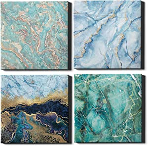 Canvas Wall Art Decor for Home or Office with Blue Marble Abstract for Living room, Bedroom and Bathroom by TERZI (12x12 Inches 4 Panels) Decorations For Living Room or Kitchen Theme Sets