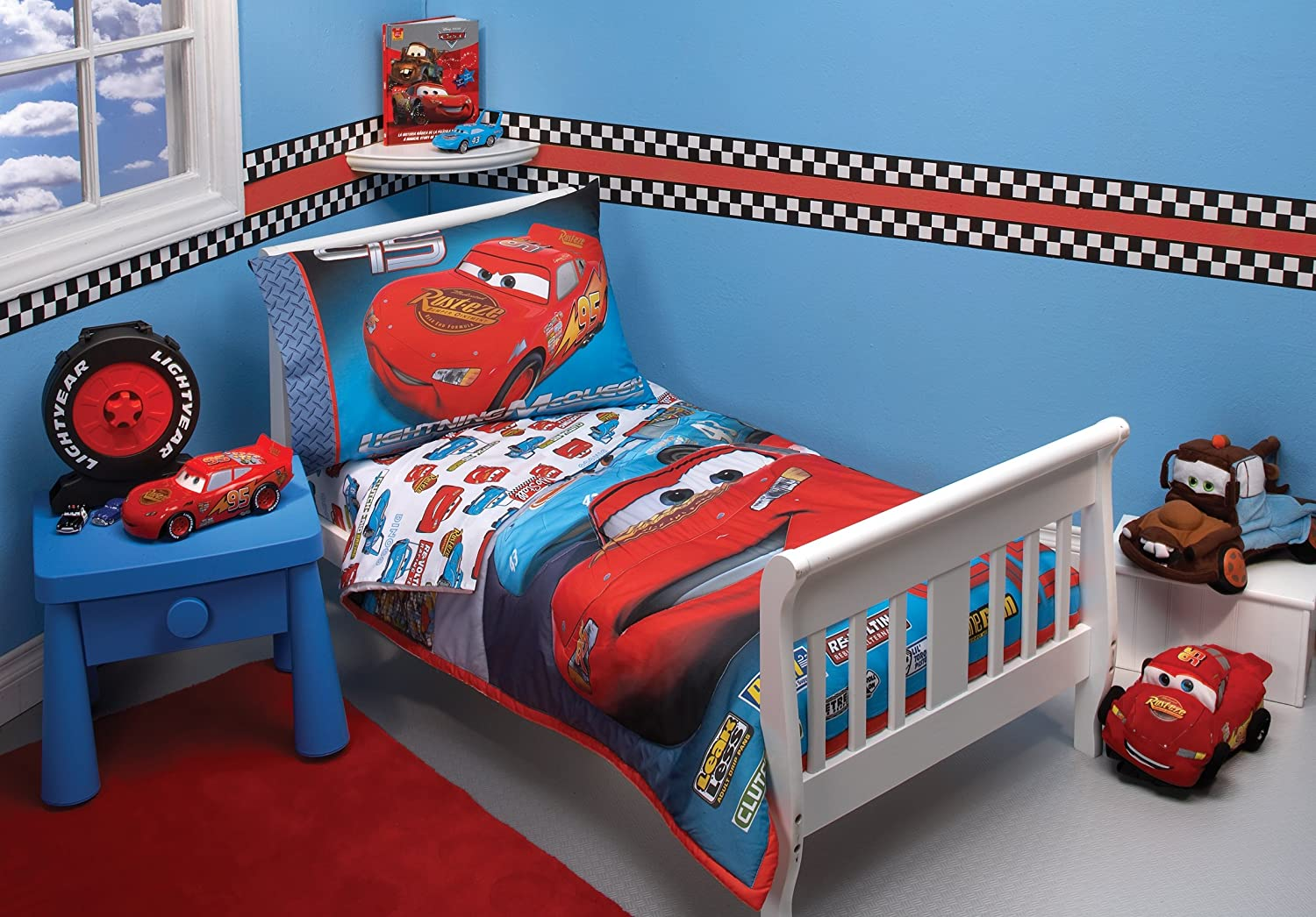 Amazon.com : Disney 4 Piece Toddler Bedding Set, Taking The Race  (Discontinued By Manufacturer) : Cars Toddler Bedding : Baby
